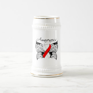 Tattoo Butterfly Awareness - Oral Cancer 18 Oz Beer Stein