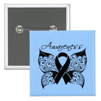 Tattoo Butterfly Awareness - Skin Cancer Pinback Button