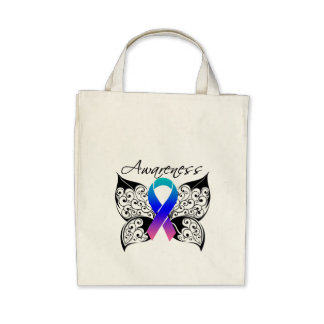 Tattoo Butterfly Awareness - Thyroid Cancer Canvas Bag
