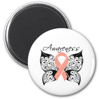 Tattoo Butterfly Awareness - Uterine Cancer 2 Inch Round Magnet