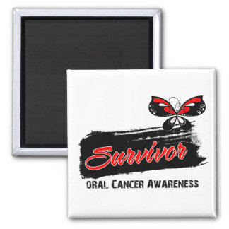 Tattoo Butterfly Oral Cancer Survivor 2 Inch Square Magnet