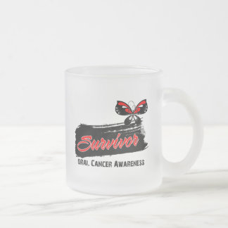 Tattoo Butterfly Oral Cancer Survivor 10 Oz Frosted Glass Coffee Mug