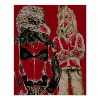 Tattoo couple, eagle lady horse man poster red