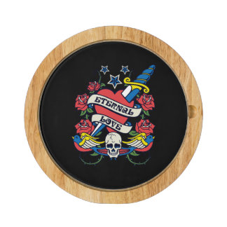 Tattoo Eternal Love Heart Knife Roses Skull Wings Round Cheese Board