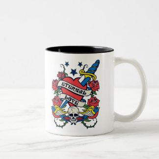 Tattoo Eternal Love Heart Knife Roses Skull Wings Two-Tone Coffee Mug