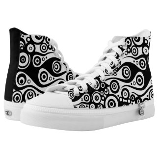 Tattoo flames & circles black + your backg. & idea printed shoes