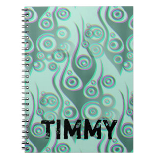 Tattoo flames & circles pattern + your backgr. notebook