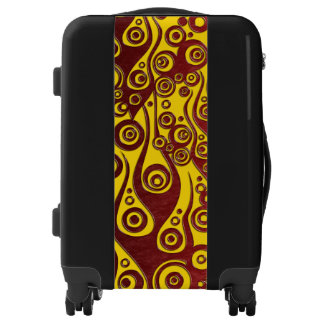 Tattoo flames & circles red + your backg. & idea luggage