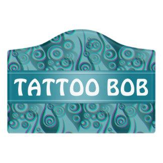 Tattoo flames & circles seamless + your backgr. door sign