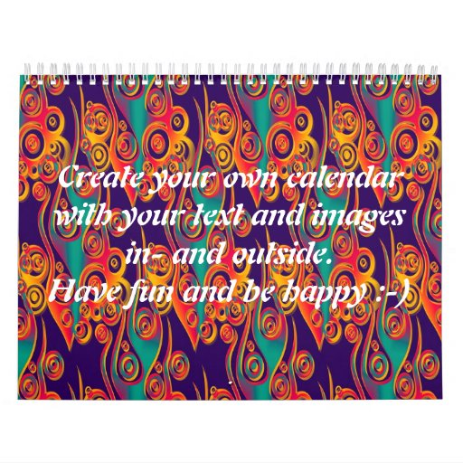 Tattoo flames pattern + your text & images wall calendars