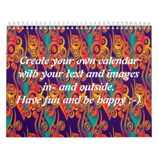 Tattoo flames pattern + your text & images calendar