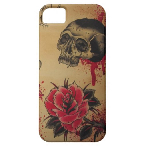 Tattoo flower and skull ipod case iphone 5 cases zazzle for Tattoo artist iphone cases