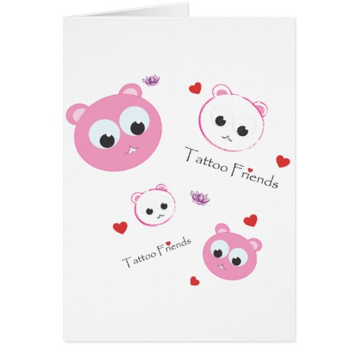tattoo friends pink greeting cards