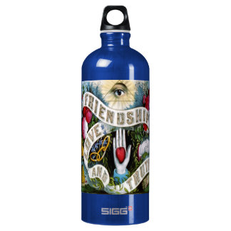 tattoo friendship love and truth teal water bottle