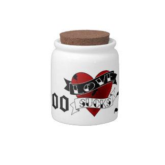 Tattoo Fund Love Sucks Candy Jar