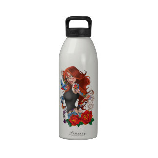Tattoo Girl Drinking Bottle