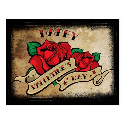 Tattoo happy valentine 39 s day rose postcard zazzle for Valentine s day tattoos