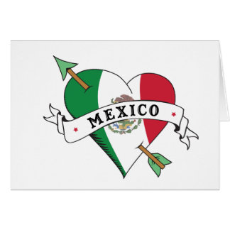 Tattoo Heart and Arrow with Mexican Flag Greeting Card