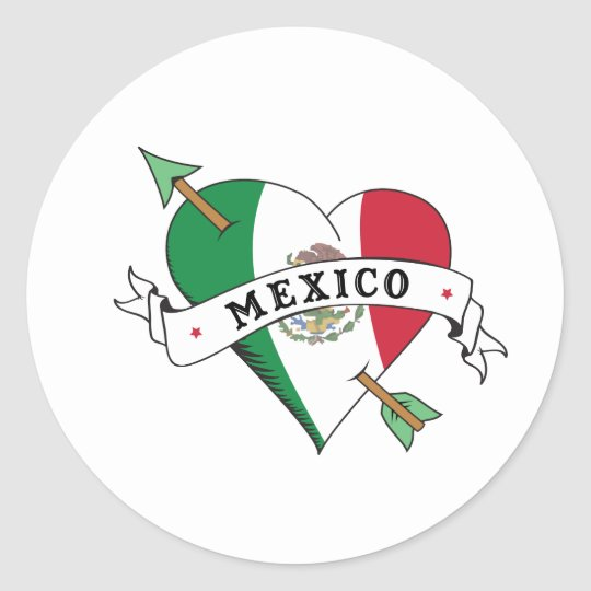 Tattoo Heart and Arrow with Mexican Flag Classic Round Sticker