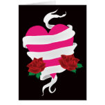 Tattoo Heart and Roses Banner Greeting Card