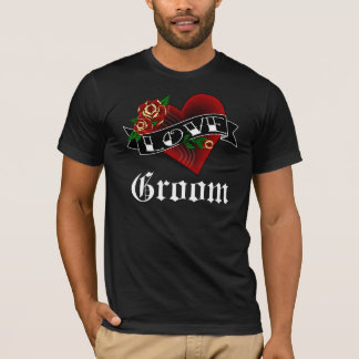 Tattoo Heart and Roses Groom T-Shirt