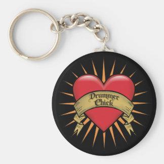 Tattoo Heart Drummer Chick Keychains