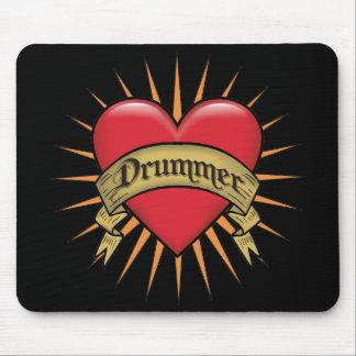 Tattoo Heart Drummer  Mouse Pad