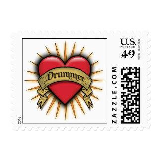 Tattoo Heart Drummer  Stamp