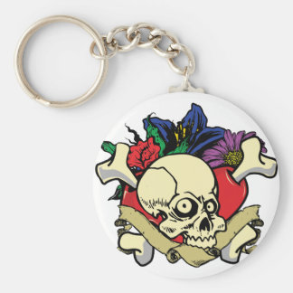 Tattoo Heart Skull Keychain