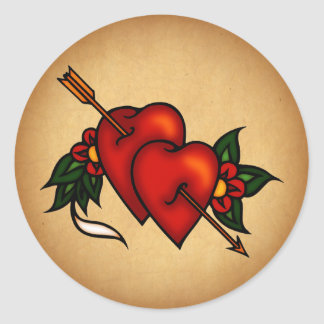 Tattoo Hearts with Arrow Classic Round Sticker