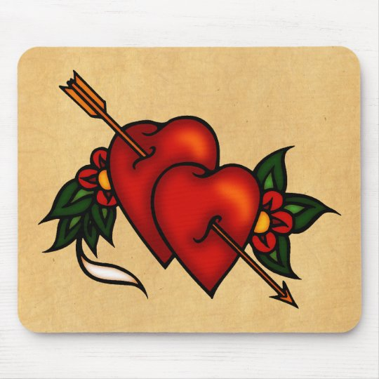Tattoo Hearts with Arrow Mouse Pad