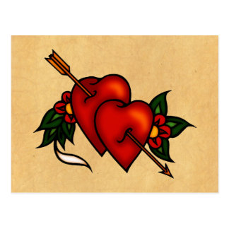 Tattoo Hearts with Arrow Post Cards