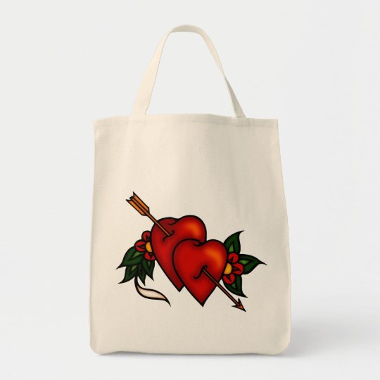 Tattoo Hearts with Arrow Tote Bag