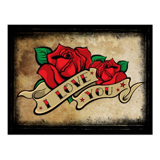 Tattoo I Love You Rose Postcard