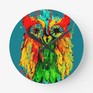 Tattoo ink owl - bright coloured painting clock