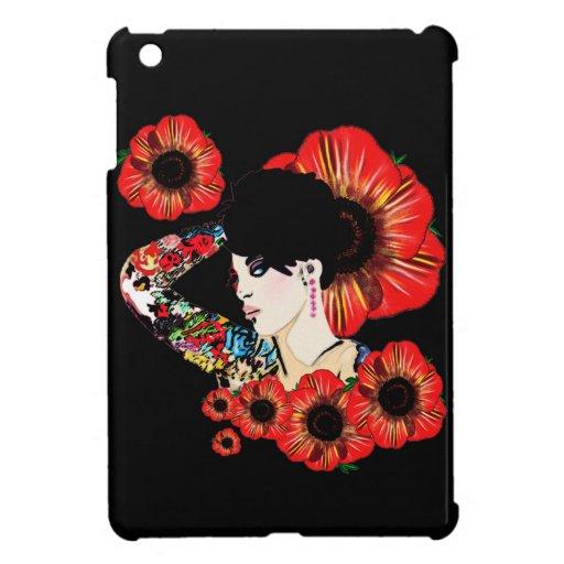 Tattoo inked girl among poppy flowers Art by LeahG iPad Mini Covers