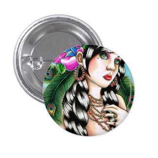 Tattoo Inspired Gypsy Girl by Carissa Rose Pinback Button
