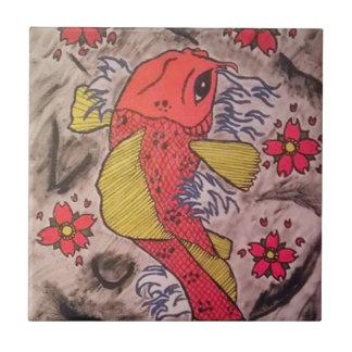 Tattoo Inspired Koi Fish Ceramic Tiles