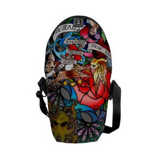 tattoo inspired messenger bag