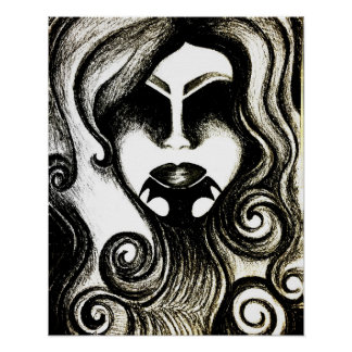 Tattoo lady abstract gothic art poster