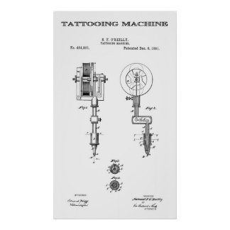 TATTOO MACHINE PATENT ART  1891 POSTERS