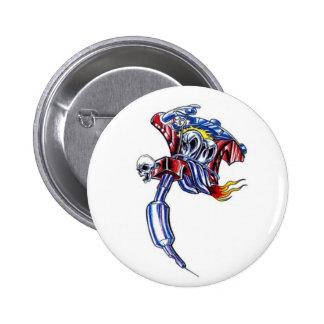 tattoo machine skull pinback button