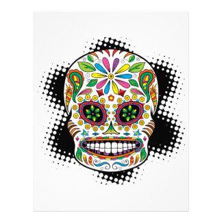 Tattoo Mexican Sugar Skull Black Rays Background Letterhead