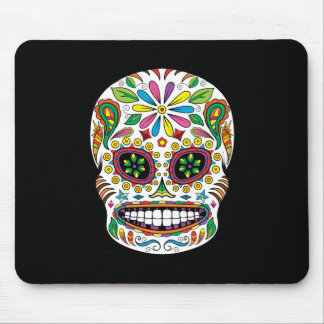 Tattoo Mexican Sugar Skull Black Rays Background Mouse Pad