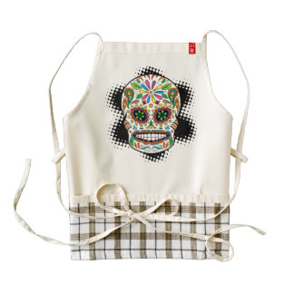 Tattoo Mexican Sugar Skull Black Rays Background Zazzle HEART Apron
