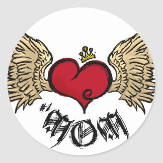 Tattoo Mom Crowned Heart with Wings Classic Round Sticker