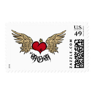 Tattoo Mom Crowned Heart with Wings Postage