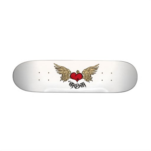 Tattoo Mom Crowned Heart with Wings Skate Deck