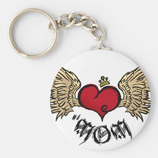 Tattoo MOM Urban Crowned Heart With Wings Basic Round Button Keychain