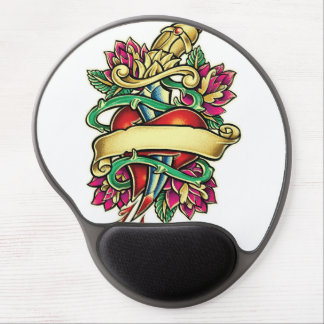 Tattoo murmur of a heart with the knife stuck gel mouse pad